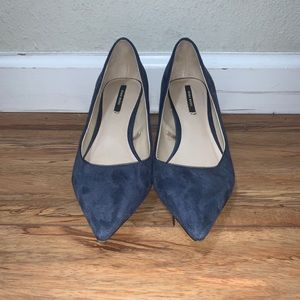 Zara Basic Blue Faux Suede Kitten Heels